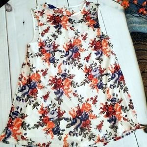 Apt. 9 White Floral Long Lined Sleeveless Blouse
